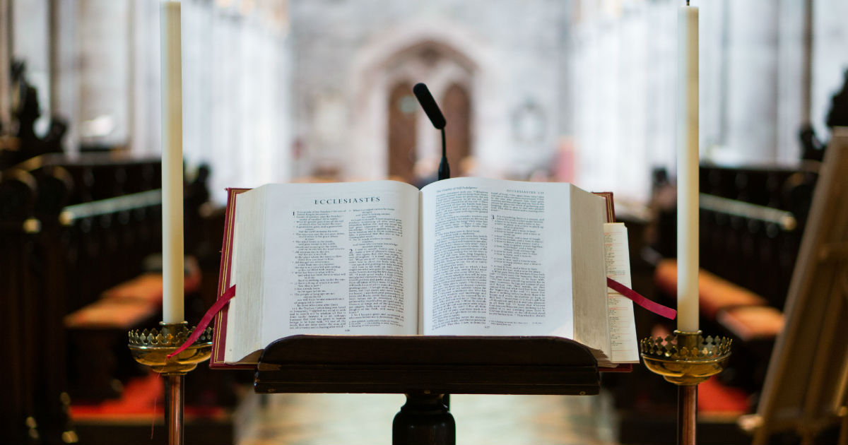 bible on stand in funeral